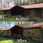 Wood Siding house power wash before and after