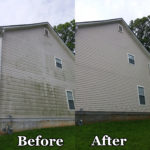 White siding house power wash before and after