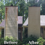Chimney Siding Cleaned before and after